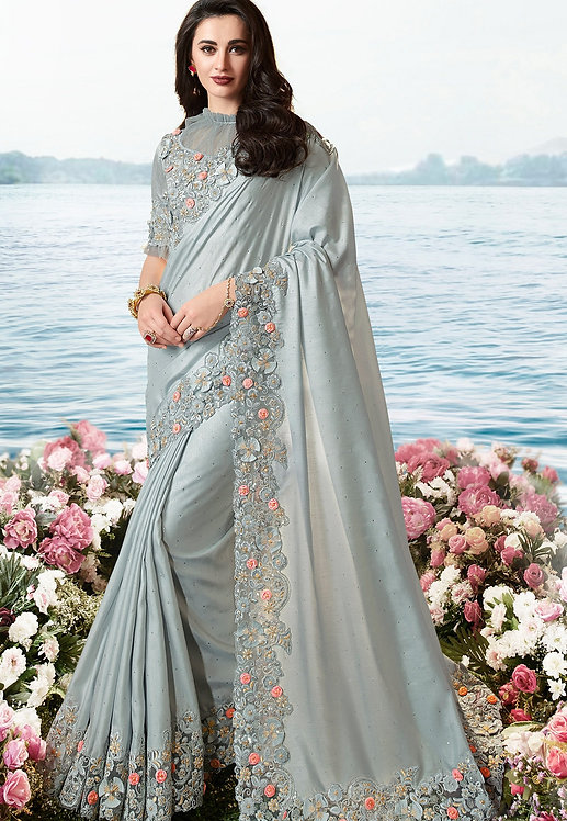 GREY ART SILK HEAVY EMBROIDERED SAREE