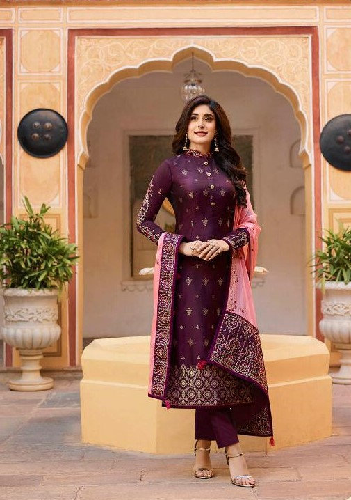PURPLE & PINK JACQUARD SUIT WITH HEAVY DUPATTA