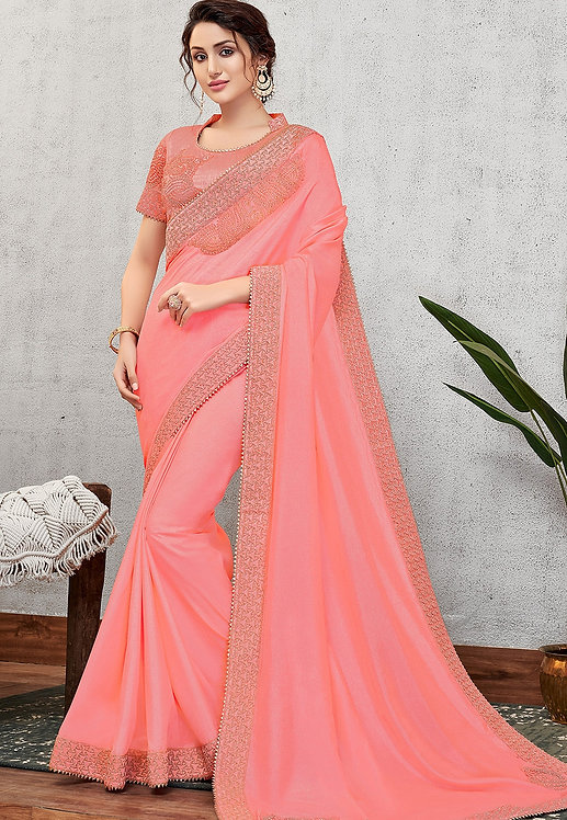 TRADITIONAL PINK SILK WITH CORD EMBROIDERED SAREE