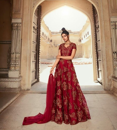 MAROON NET EMBROIDERED GOWN STYLE SUIT