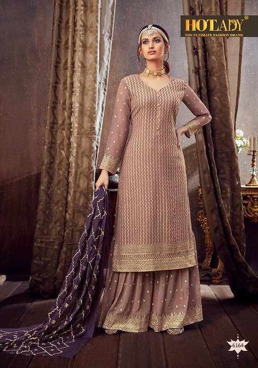 LIGHT PURPLE GEORGETTE EMBROIDERED PARTY WEAR SUIT
