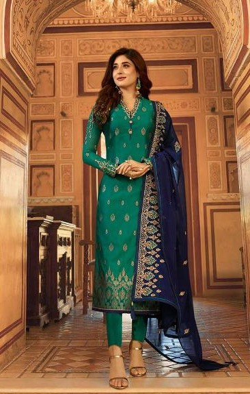 GREEN & BLUE JACQUARD SUIT WITH HEAVY DUPATTA