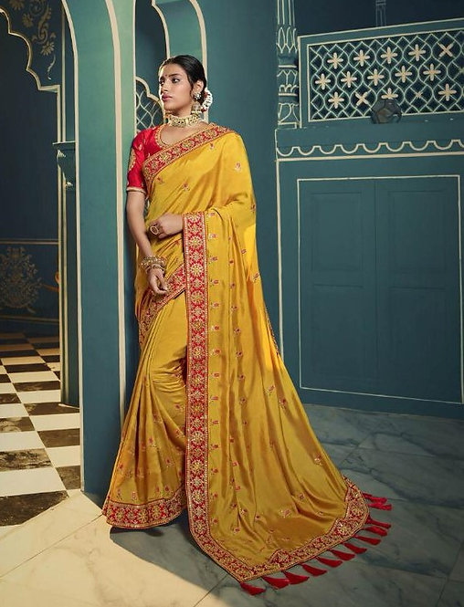 YELLOW & RED SILK SAREE