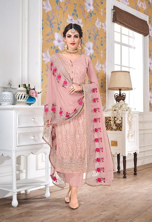 PINK FAUX GEORGETTE EMBROIDERED SALWAR SUIT