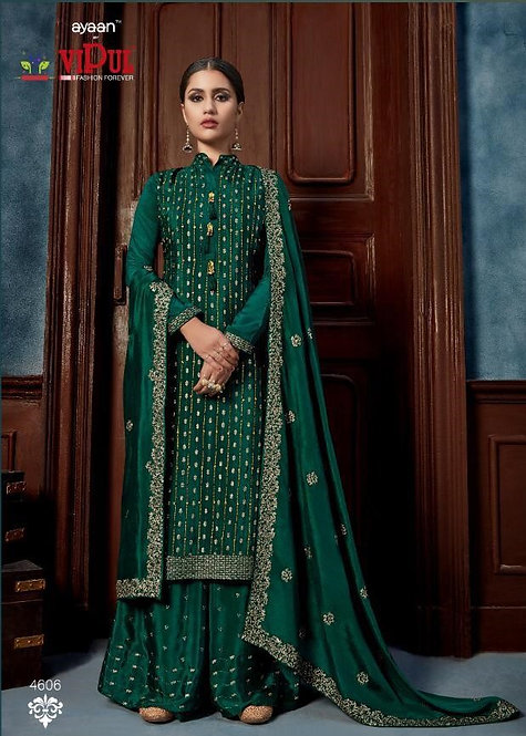GREEN HEAVY CHINNON SEQUINS HAND WORK SUIT
