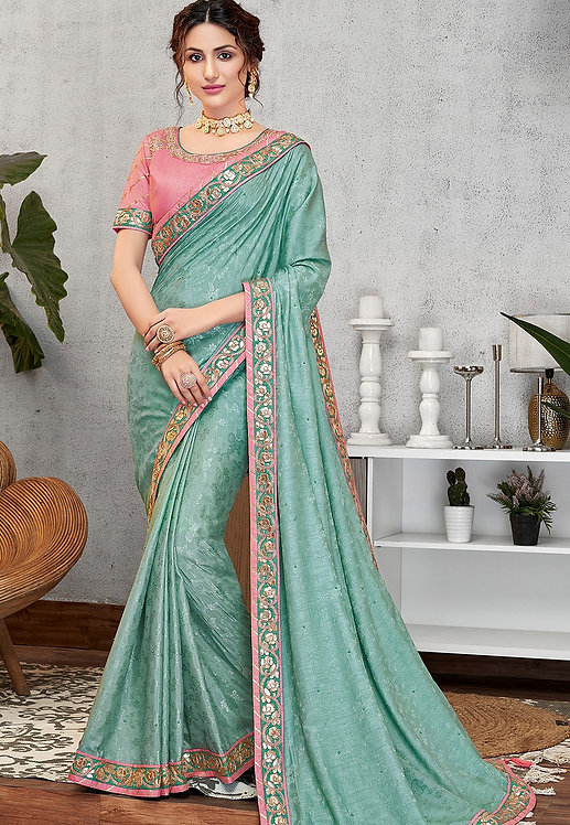 EVENING BLUE JACQUARD SILK EMBROIDERED SAREE
