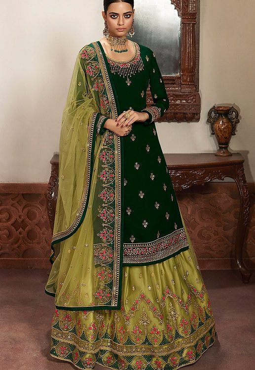GREEN GEORGETTE EMBROIDERED LEHENGA STYLE SUIT