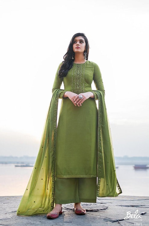 GREEN HANDWORK COTTON SILK SUIT