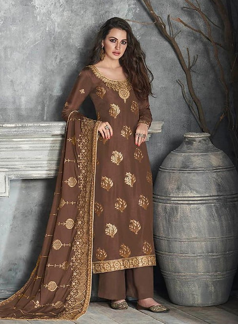 BROWN EMBROIDERED SILK SUIT