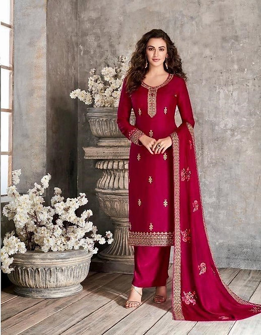 MAGENTA EMBROIDERED TUSSER SILK SUIT