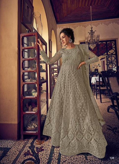 GREY EMBROIDERED NET ANARKALI SUIT
