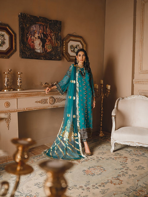 BLUE EMBROIDERED CHIFFON DYED RAW SILK TROUSER SUIT