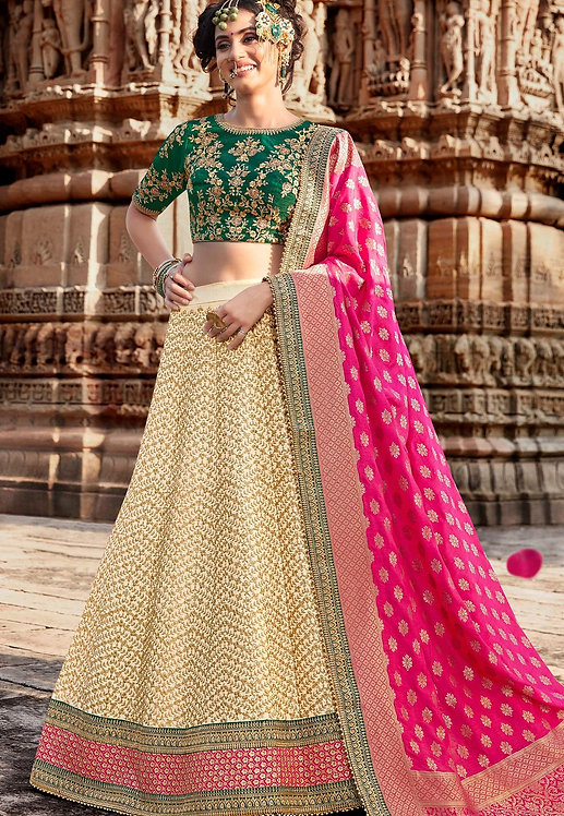 BEIGE HANDLOOM SILK EMBROIDERED LEHENGA CHOLI