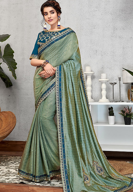 BLUE WEAVED SILK EMBROIDERED PARTY WEAR SAREE
