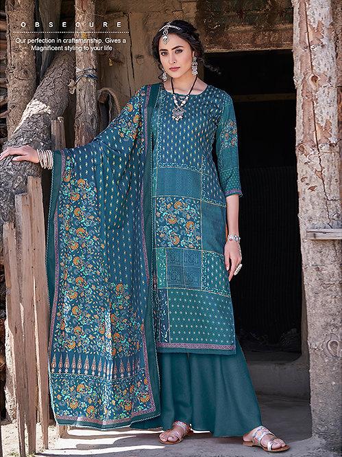 BLUE PURE WOOL PASHMINA DIGITAL PRINTED DRESS MATERIAL