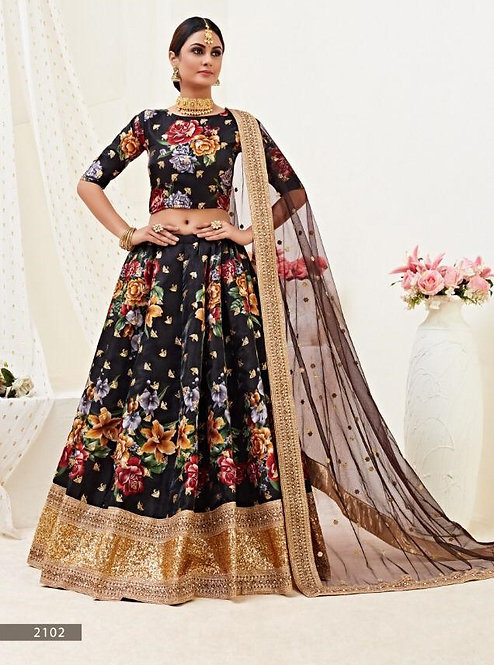 BLACK FLORAL PRINTED DORI ZARI SEQUINS EMBROIDERED SATIN LEHENGA
