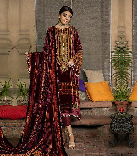 MAGENTA PALACHI VELVET EMBROIDERED DYED RAW SILK TROUSER SUIT