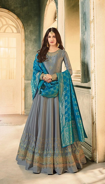 BLUE EMBROIDERED SATIN GEORGETTE ANARKALI SUIT