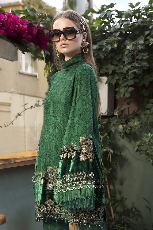 EMERALD GREEN VELVET EMBROIDERED LINEN WINTER SUIT