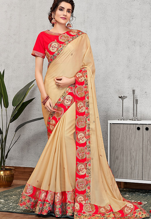 TRADITIONAL CREAM SILK GEORGETTE EMBROIDERED SAREE