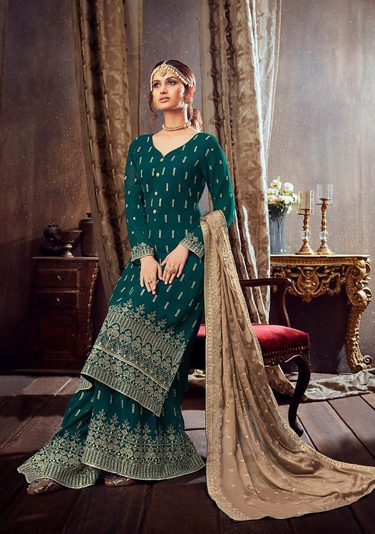 GREEN GEORGETTE EMBROIDERED PARTY WEAR SUIT
