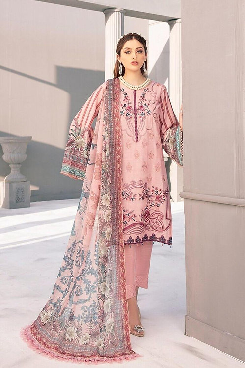PINK EMBROIDERED LINEN SLUB VISCOSE SUIT