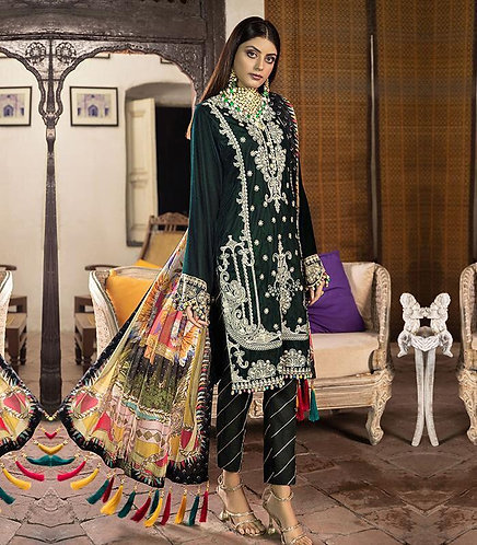 DARK GREEN PALACHI VELVET EMBROIDERED DYED RAW SILK TROUSER SUIT