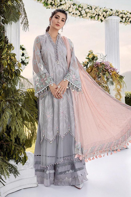 GREY EMBROIDERED COTTON SATIN SUIT