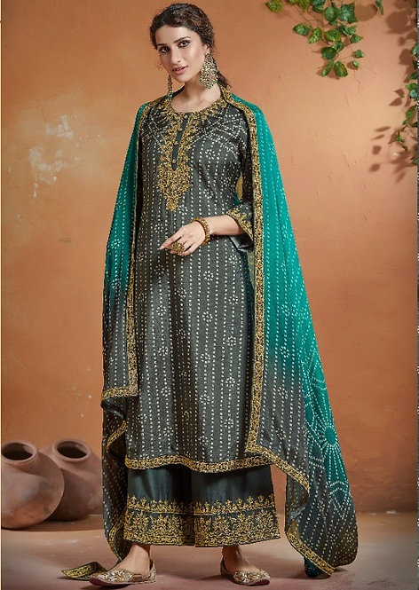 GREY BLUE EMBROIDERED TUSSER SILK SUIT