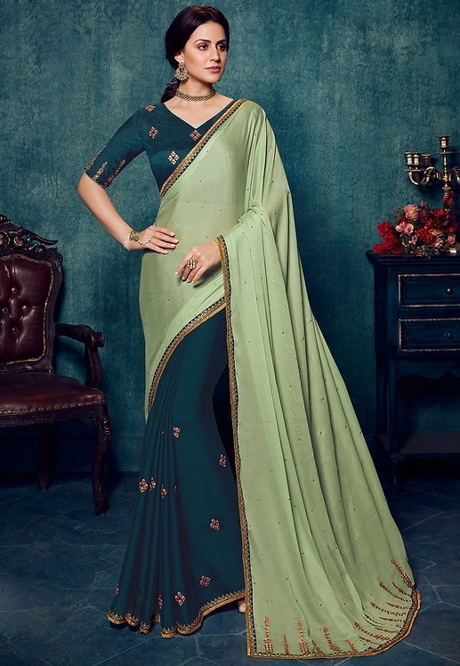 BLUE & GREEN ART SILK PARTY WEAR SAREERT SILK PARTY WEARK PARTY WEAR SAREE