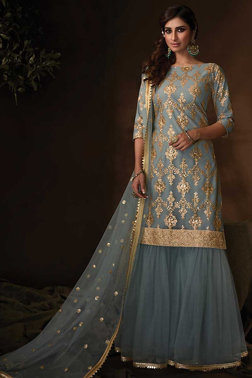 GREY NET SHARARA SUIT