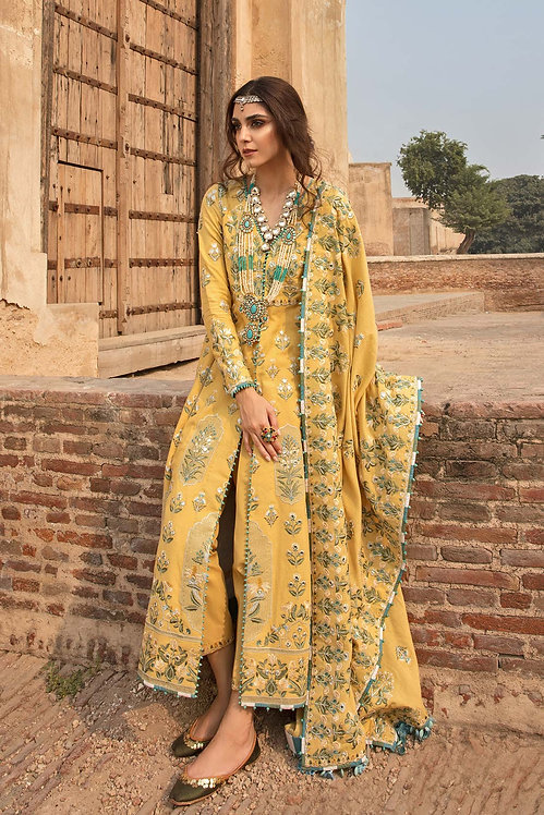 CANARY EMBROIDERED KARANDI WINTER SUIT