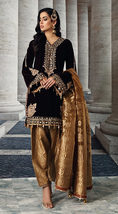 BROWN EMBROIDERED VELVET SUIT