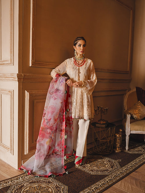 OFF WHITE EMBROIDERED CHIFFON ORGANZA DYED RAW SILK SUIT