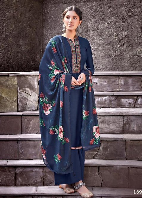 BLUE VISCOSE MUSLIN COTTON SALWAR SUIT