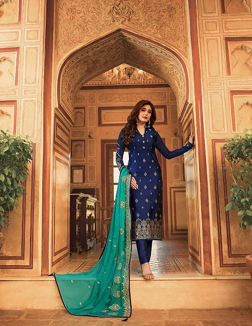 BLUE & GREEN JACQUARD SUIT WITH HEAVY DUPATTA