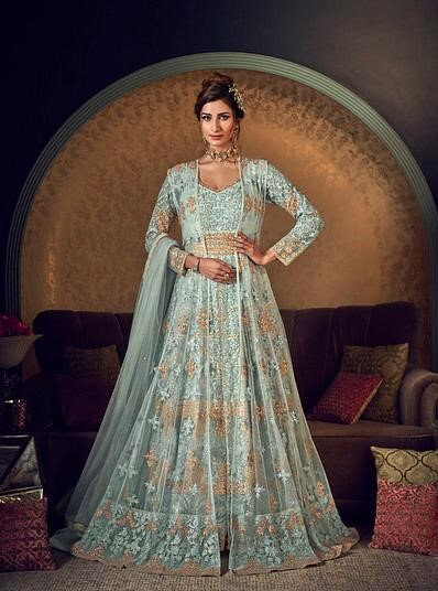 SKY BLUE NET EMBROIDERED ANARKALI GOWN SUIT