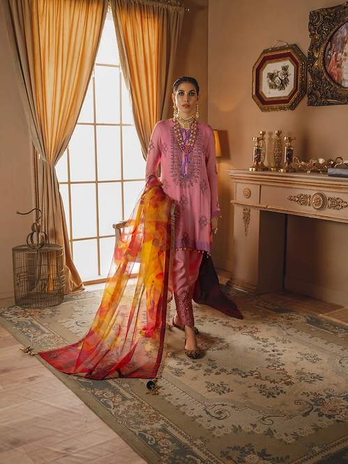 PINK EMBROIDERED CHIFFON ORGANZA DYED RAW SILK SHEESHA WORK SUIT