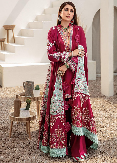 PLUM EMBROIDERED LINED & DYED JACQUARD WINTER SUIT
