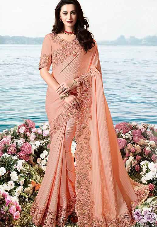 PINK ART SILK HEAVY EMBROIDERED SAREE