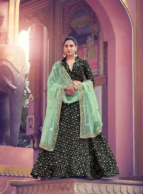 BLACK FUR IMPORTED NET SEQUINS LEHENGA