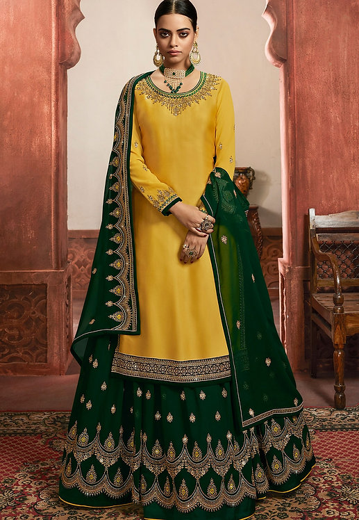 YELLOW & GREEN SATIN GEORGETTE EMBROIDERED LEHENGA STYLE SUIT