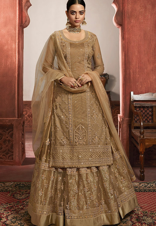 GOLDEN NET EMBROIDERED LEHENGA STYLE SUIT