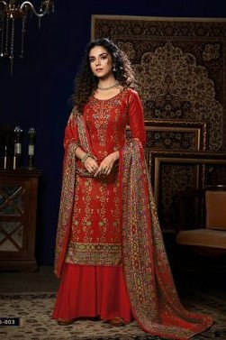 RED PURE PASHMINA DIGITAL STYLE PRINT SUIT