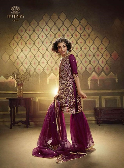 WINE NET SEQUINS EMBROIDERED SUIT