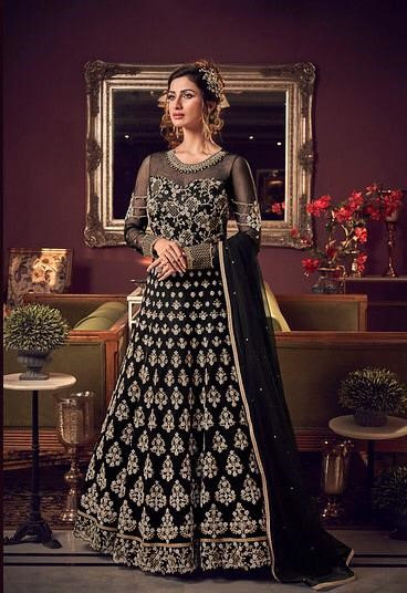 BLACK NET EMBROIDERED FLOOR LENGTH ANARKALI SUIT
