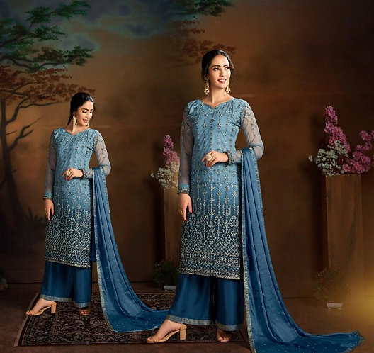 BLUE EMBROIDERED BUTTERFLY NET SUIT