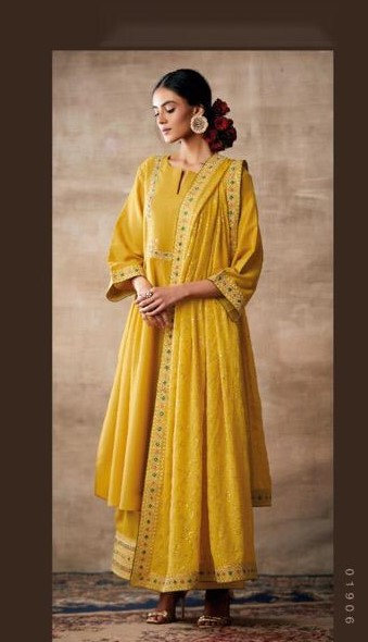 YELLOW EMBROIDERED TUSSER SILK SUIT
