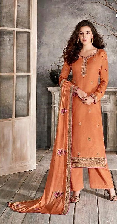 ORANGE EMBROIDERED TUSSER SILK SUIT
