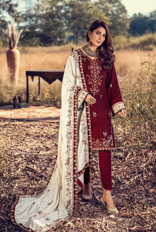 ROSEWOOD EMBROIDERED JACQUARD & DYED LINEN WINTER SUIT